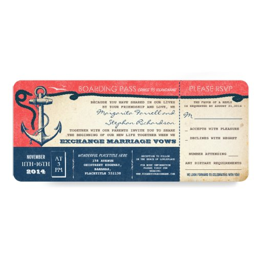 wedding boarding pass-vintage tickets with RSVP Personalized Announcement Card