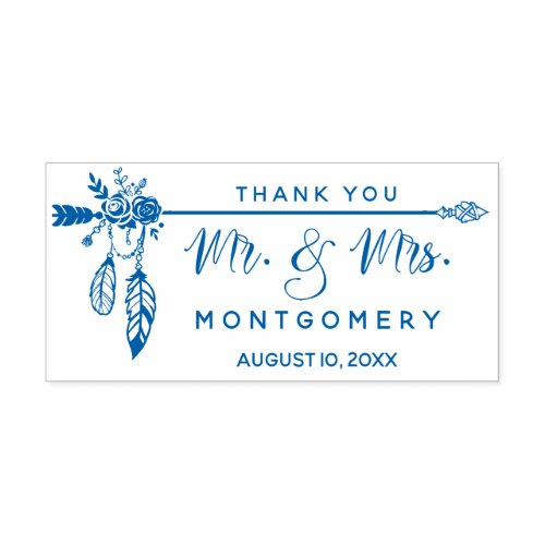 Wedding Boho Create Your Own Floral Thank You Self_inking Stamp