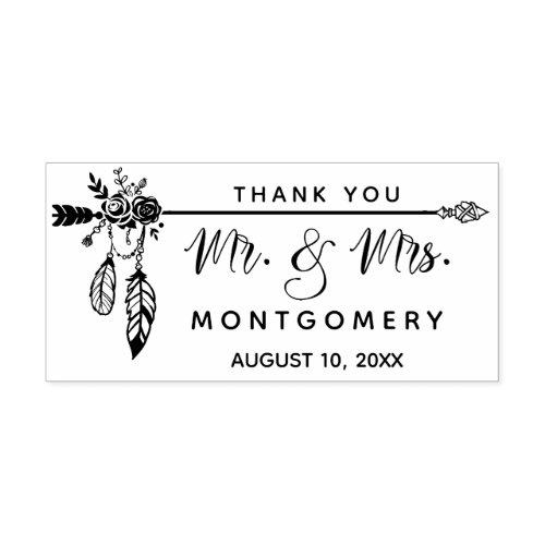 Wedding Boho Mr Mrs Custom Name Thank You Rubber Stamp