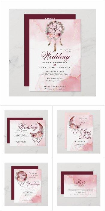 WEDDING | BOHO Watercolor Dusty Rose Celestial