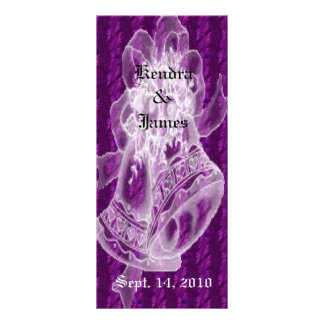 Wedding Bookmarks Favors Purple Bells Personalized Rack Card