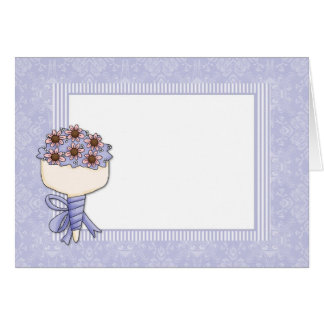 Wedding Bouquet Border Blue Card