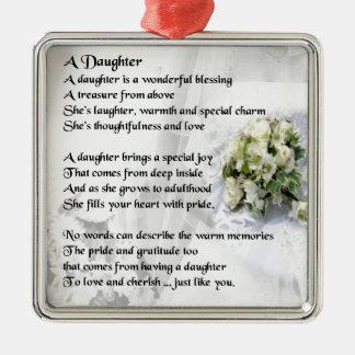 wedding bouquet   Daughter Poem Metal Ornament
