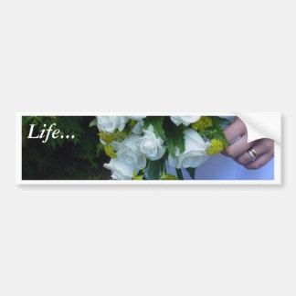 Wedding Bouquet White Roses Car Bumper Sticker