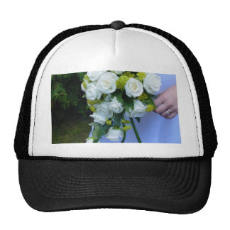 Wedding Bouquet White Roses Mesh Hats