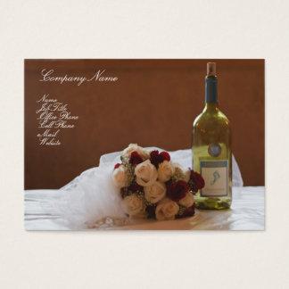 Wedding Bouquet & Wine Bottle business card