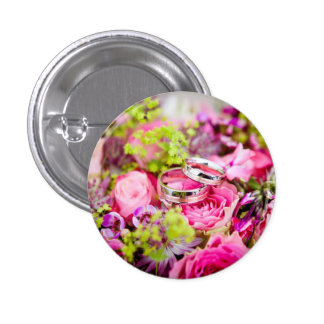 Wedding Bouquet with Wedding Ring Bands Button