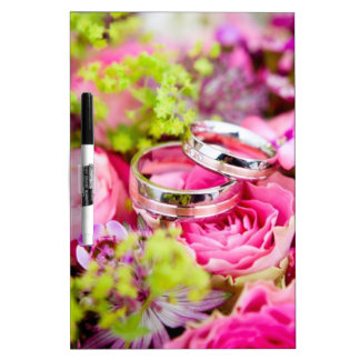 Wedding Bouquet with Wedding Ring Bands Dry Erase Board