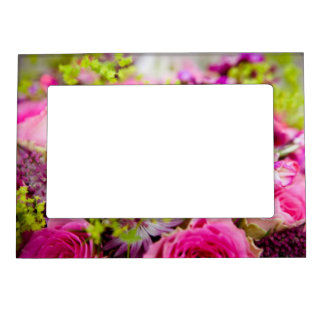 Wedding Bouquet with Wedding Ring Bands Magnetic Photo Frame