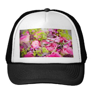 Wedding Bouquet with Wedding Ring Bands Trucker Hat