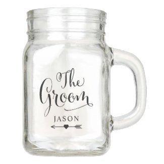 Wedding Bridal Party | The Groom Mason Jar