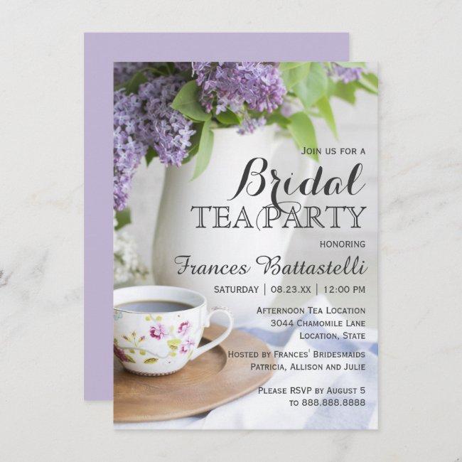 Wedding Bridal Shower Afternoon Tea Lilac Flowers Invitation