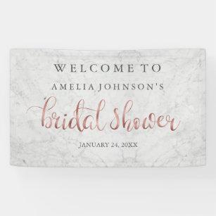 wedding bridal shower banner marble rose gold