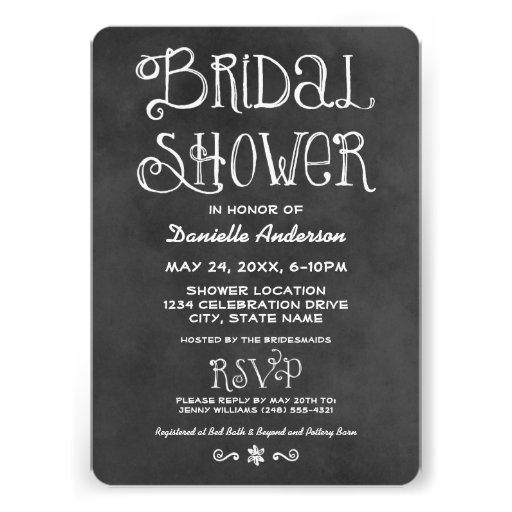 Wedding Bridal Shower   Black Chalkboard Personalized Announcements