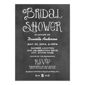 Wedding Bridal Shower | Black Chalkboard 5x7 Paper Invitation Card