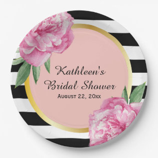 Wedding Bridal Shower Black Stripes Floral Glam Paper Plate at Zazzle