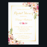 "Wedding Bridal Shower Chic Floral Golden Frame Card<br><div class=""desc"">Chic Floral Golden Frame Bridal Shower Invitation. (1) For further customization, please click the &quot;customize further&quot; link and use our design tool to modify this template. (2) If you prefer Thicker papers / Matte Finish, you may consider to choose the Matte Paper Type. (3) If you need help or matching...</div>"
