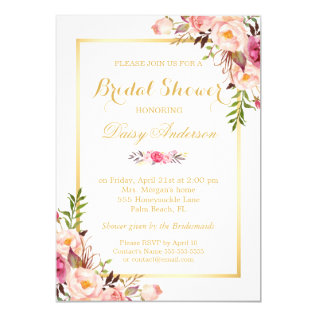 Wedding Bridal Shower Chic Floral Golden Frame Card at Zazzle