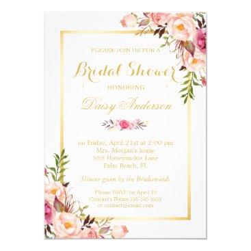 CardHunter Wedding Bridal Shower Chic Floral Golden Frame Card