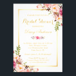 """Wedding Bridal Shower Chic Floral Golden Frame Invitation<br><div class=""""desc"""">Chic Floral Golden Frame Bridal Shower Invitation. (1) For further customization, please click the &quot;customize further&quot; link and use our design tool to modify this template. (2) If you prefer Thicker papers / Matte Finish, you may consider to choose the Matte Paper Type. (3) If you need help or matching...</div>"""