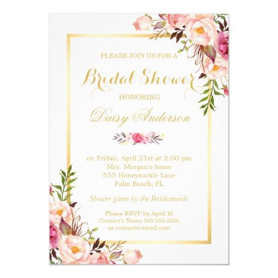 Wedding Bridal Shower Chic Floral Golden Frame Invitation