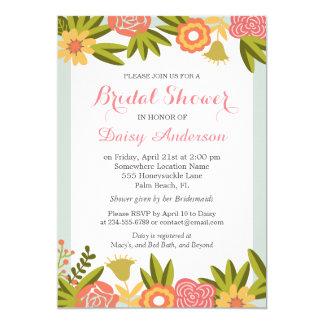 Wedding Bridal Shower Chic Garden Blooming Flowers Card