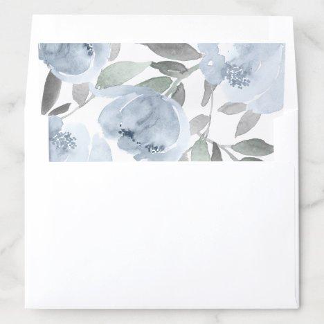 Wedding Bridal Shower Dusty Blue Gray Watercolor Envelope Liner