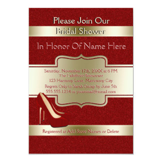 Wedding Bridal Shower | Elegant Chic Red and Gold Card