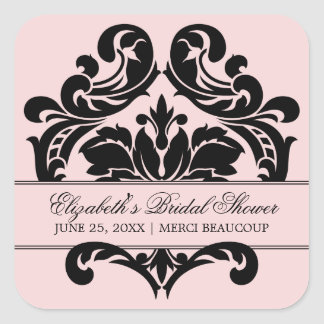 Wedding Bridal Shower Favor Sticker | Pink Black