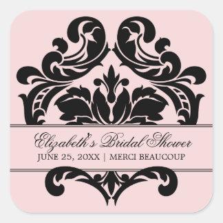 Wedding Bridal Shower Favor Sticker | Pink Black
