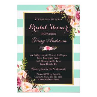 Wedding Bridal Shower Floral Mint Green Stripes Card