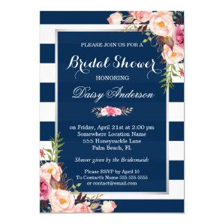 Wedding Bridal Shower Floral Silver Navy Stripes Card