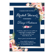 Wedding Bridal Shower Floral Silver Navy Stripes Invitation