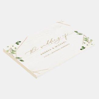 Wedding Bridal Shower Geometric Greenery Gold Guest Book