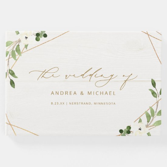 Wedding Bridal Shower Geometric Greenery Gold Guest Book