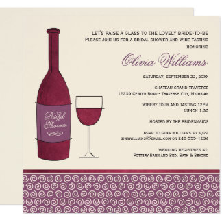 Wedding Bridal Shower Invitation | Red Wine