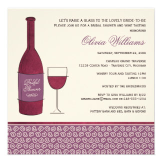 Wedding Bridal Shower Invites | Wine Theme
