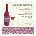 "Wedding Bridal Shower Invites | Wine Theme 5.25"" Square Invitation Card"