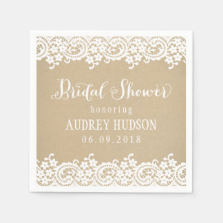 Wedding Bridal Shower | Lace and Kraft Paper Napkin