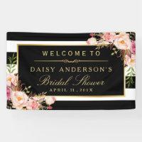 Wedding Bridal Shower Modern Vintage Floral Decor Banner