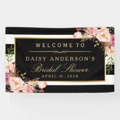 Wedding Bridal Shower Modern Vintage Floral Decor Banner at Zazzle