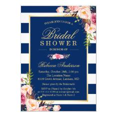 Wedding Bridal Shower | Navy Blue Stripes Floral Card at Zazzle