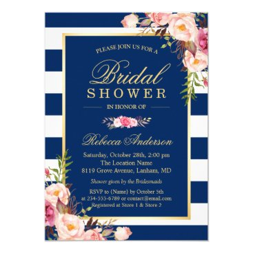 CardHunter Wedding Bridal Shower | Navy Blue Stripes Floral Card