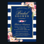 "Wedding Bridal Shower | Navy Blue Stripes Floral Invitation<br><div class=""desc"">================= ABOUT THIS DESIGN ================= Navy Blue Stripes Floral 