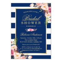 Wedding Bridal Shower | Navy Blue Stripes Floral Invitation