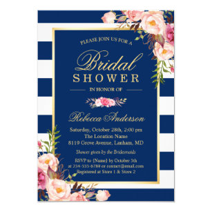 Navy bridal shower invitations announcements zazzle wedding bridal shower navy blue stripes floral invitation filmwisefo