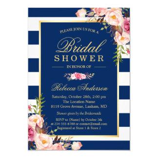 Wedding Bridal Shower   Navy Blue Stripes Floral Invitation