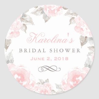 Wedding Bridal Shower | Pink Watercolor Roses Classic Round Sticker