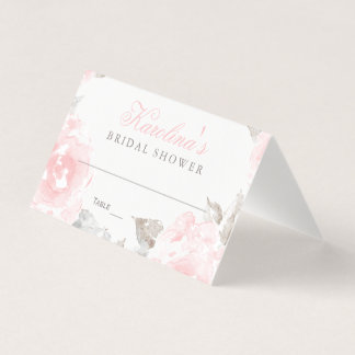Wedding Bridal Shower | Pink Watercolor Roses Place Card