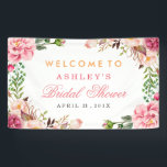 """Wedding Bridal Shower Romantic Chic Floral Wrapped Banner<br><div class=""""desc"""">================= ABOUT THIS DESIGN ================= Modern Pink Floral Wrapping Invitation Suite. (1) All text style, colors, sizes can be modified to fit your needs. (2) If you need any customization or matching items, please feel free to contact me. (In case you didn&#39;t get my response, please check the email SPAM...</div>"""